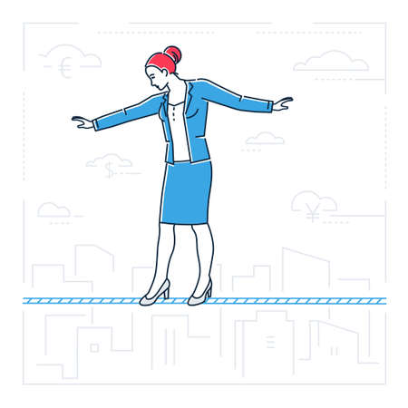 Businesswoman walking on a wire- line design style isolated illustration Illustration