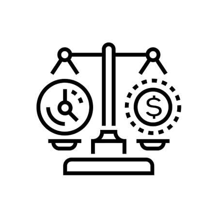 Time vs money - line design single isolated icon Illustration