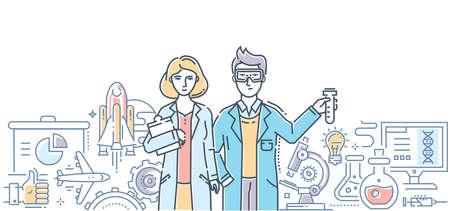 Innovaties - moderne platte ontwerpstijl geïsoleerd kleurrijke illustratie Stock Illustratie