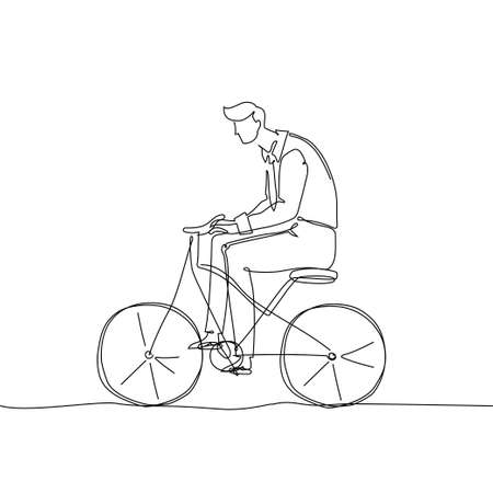 Boy riding a bicycle - one continuous line design style illustration 向量圖像