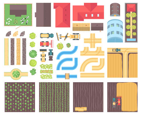 Farm elements - set of modern vector isolated objects Çizim