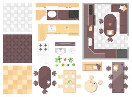 キッチン要素 - 現代のベクトルオブジェクトのセット