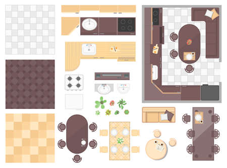 Kitchen elements - set of modern vector objects
