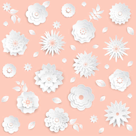 Paper cut flowers, set of modern vector colorful objects. Archivio Fotografico - 99689760