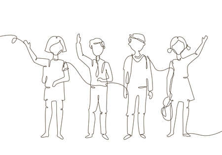Schoolchildren - one line design style illustration  イラスト・ベクター素材