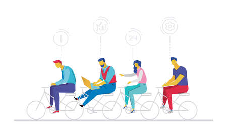 Business team - flat design style colorful illustration on white background. Metaphorical composition with cute characters, office workers or businessmen working hard, riding a bicycle