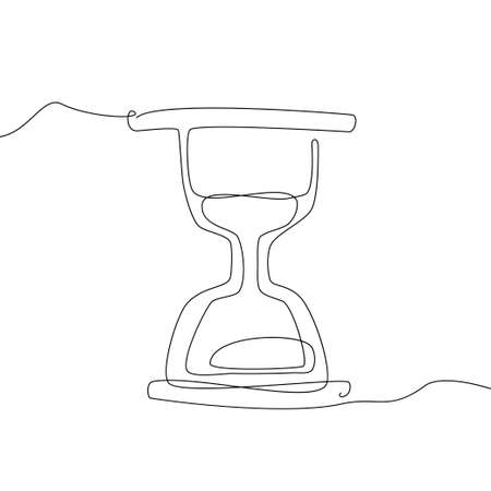 Hourglass - one line design style illustration isolated on white background. Time management, deadline concept. High quality image for your presentation Illustration