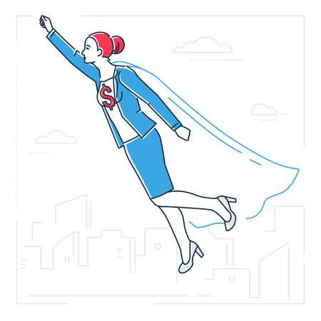 Businesswoman with a super power - line design style isolated illustration on white background. Metaphorical image of a young energetic person in a superhero costume flying above the city