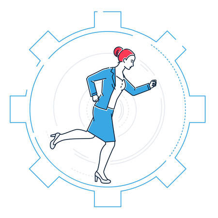 Businesswoman running in a gear - line design style illustration on white background. Metaphorical image of a young person going towards the aim. Effectiveness concept Illustration