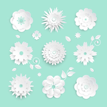Paper cut flowers - set of modern vector colorful objects isolated on blue background. High quality collection of different buds with leaves, petals. Perfect for greeting cards, invitations Archivio Fotografico - 99731943