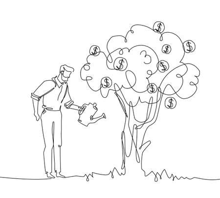 Businessman watering money tree - one line design style illustration isolated on white background. A young man working on his benefits. High quality image for your presentation, flyer, banner