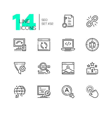 SEO - set of line design style icons isolated on white background. Minimalistic black pictograms. Logical linking, coding, engine optimization, pay per tap, top chart, global campaign, search, video Vettoriali