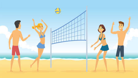 Beach volleyball - cartoon people character illustration. Happy smiling friends playing a game on the sand. Summer activity concept Çizim