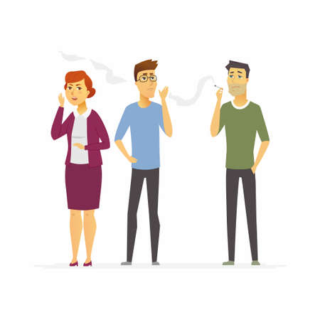 Stop smoking - cartoon people character isolated illustration on white background. A man with a cigarette standing next to unhappy people. They dont like the smell. Healthy lifestyle concept