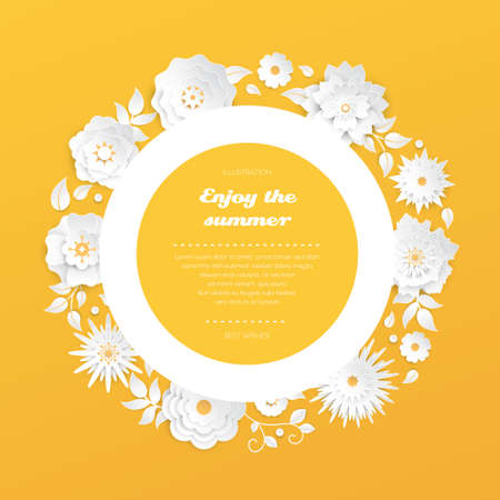 Enjoy the summer - modern vector colorful illustration on orange background with a round frame, place for a text. High quality composition with lovely white paper cut flowers. Perfect as a card