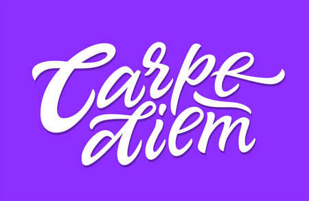Carpe Diem - vector hand drawn brush pen lettering illustration Illustration