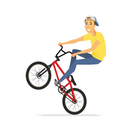 BMX rider - cartoon people character isolated illustration on white background. A happy smiling young sportsman on a bicycle. Active lifestyle concept