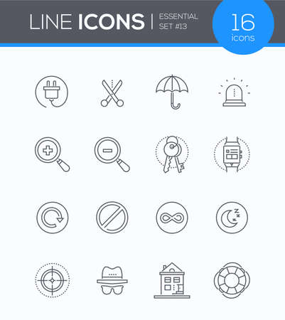 Security and data protection - modern line design style icons set