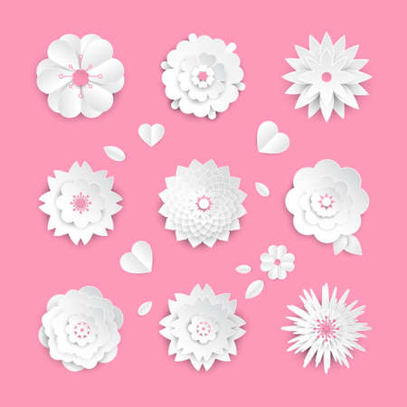 Paper cut flowers - set of modern vector colorful objects 向量圖像