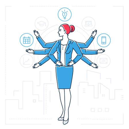 Ilustración multitarea, mujer con muchas manos ilustración aislada de estilo de diseño de línea.