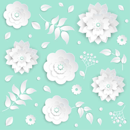 Paper cut flowers - set of modern vector colorful objects isolated on blue background. High quality collection of lovely white buds with leaves and petals, perfect for greeting cards, invitations