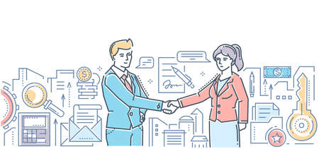 Business partnership - modern flat design style colorful illustration on white background. An image of two young businessmen shaking hands, making an agreement, signing a contract. Cooperation concept