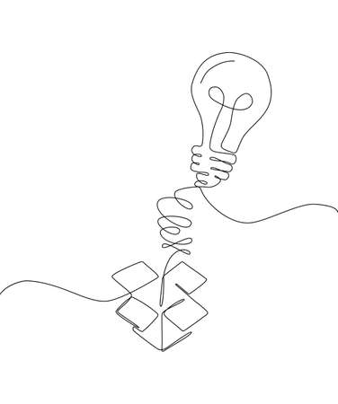 Creative idea - one line design style illustration