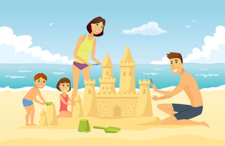 Happy family on vacation - cartoon people character illustration