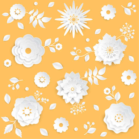 Spring - set of modern vector colorful set of flowers isolated on orange background. High quality composition with lovely white buds with leaves and petals, perfect for greeting cards, invitations Archivio Fotografico - 100318821