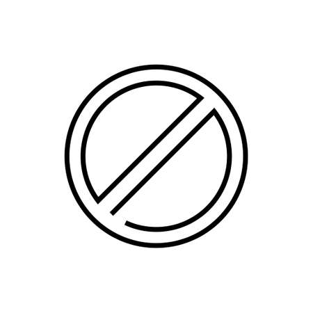 Not allowed sign - line design single isolated icon on white background. High quality minimalistic black pictogram, emblem. Stop, prohibition, no symbol