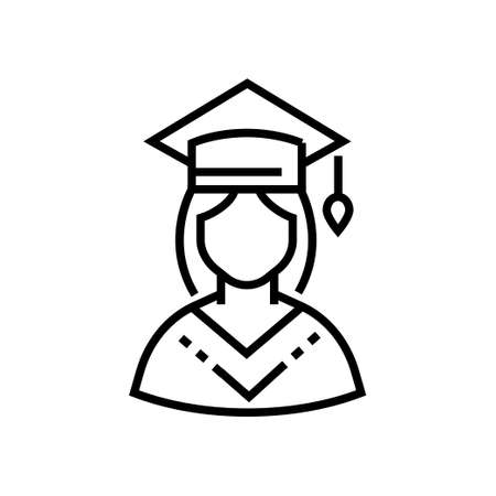 Female student - line design single isolated icon on white background. High quality minimalistic black pictogram, emblem. An image of a girl in an academic hat and mantle. Education theme Ilustração