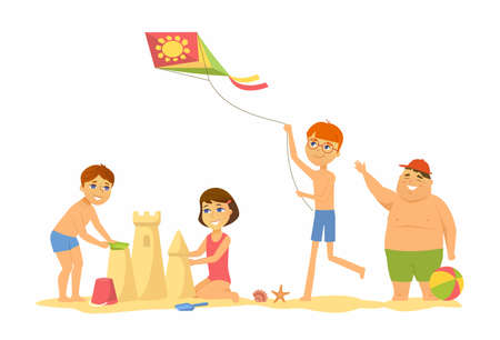 Happy children on the beach - cartoon people character illustration