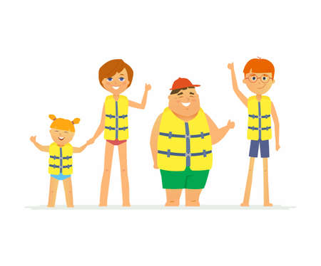 Happy children on vacation - cartoon people character isolated illustration