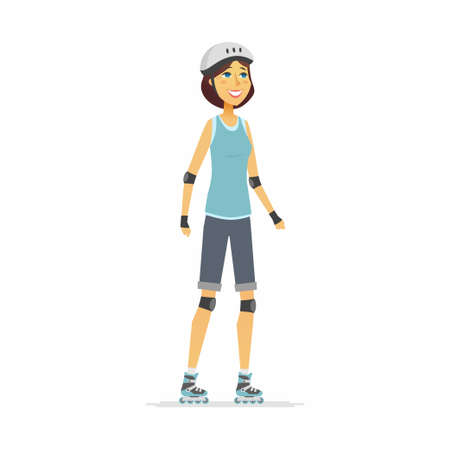 Girl on roller skates - cartoon people character isolated illustration Stock Photo