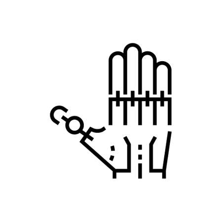 Robotic hand - line design single isolated icon Ilustrace