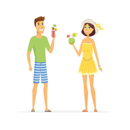 Young couple on beach holiday - cartoon people character isolated illustration Banque d'images - 100642975