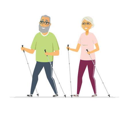 Nordic walking - cartoon mensen karakter geïsoleerde illustratie Vector Illustratie