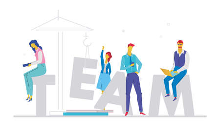 Flat design style colorful illustration of Team