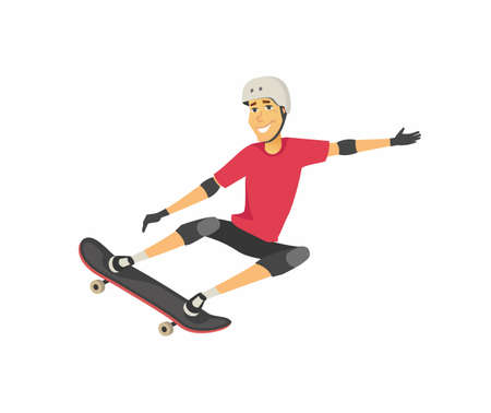 Boy on skateboard - cartoon people character isolated illustration Иллюстрация