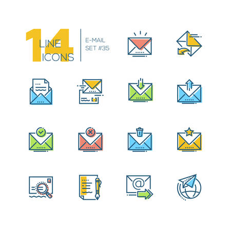 Email - set of line design style icons isolated on white background. Minimalistic colorful pictograms. Main options, send, receive, delete, save, important letter, draft, international correspondence Illustration