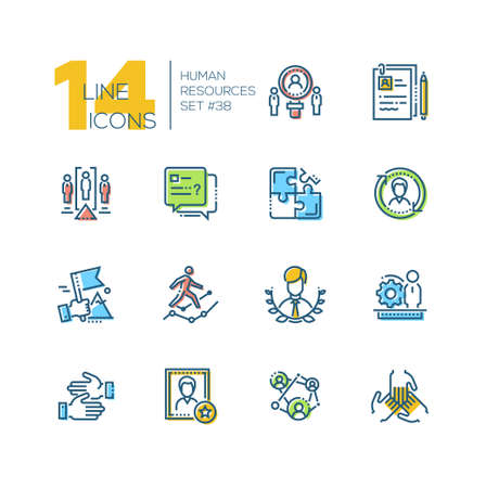 Human resources - set of line design style icons isolated on white background. Minimalistic colorful pictograms. Work group, unity, project team, CV, leadership, cooperation, negotiations, candidate  イラスト・ベクター素材
