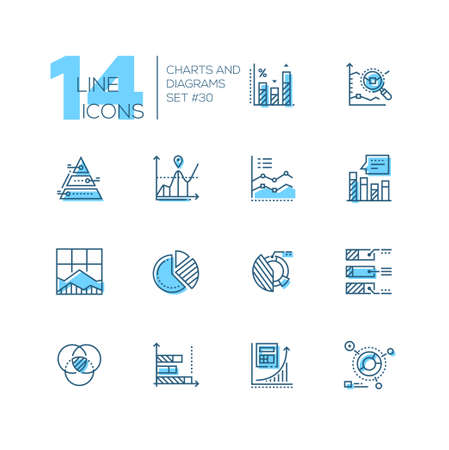 Charts and diagrams - set of line design style icons isolated on white background. High quality black pictograms. Different types, round, triangular, comparison, bar, pie, line, histogram, pareto
