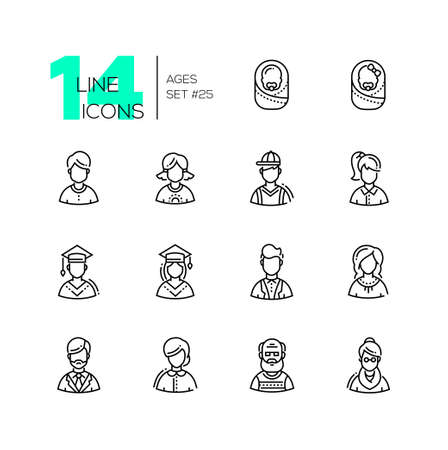 Ages - set of line design style icons isolated on white background.