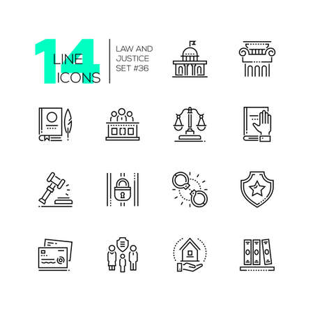 Law and justice - set of line design style icons isolated on white background.