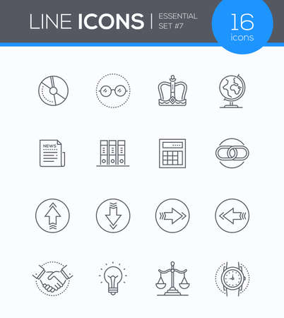 Business concepts - modern line design style icons set in blue round frame. Illustration