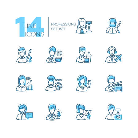 Professions - set of line design style icons isolated on white background. Archivio Fotografico - 100866964