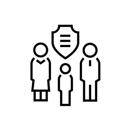 Family protection - line design single isolated icon Illustration