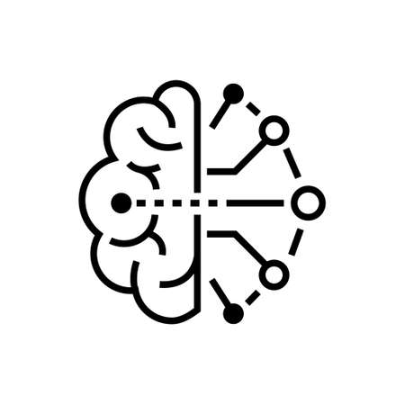 Artificial intelligence - line design single isolated icon 스톡 콘텐츠 - 101177881