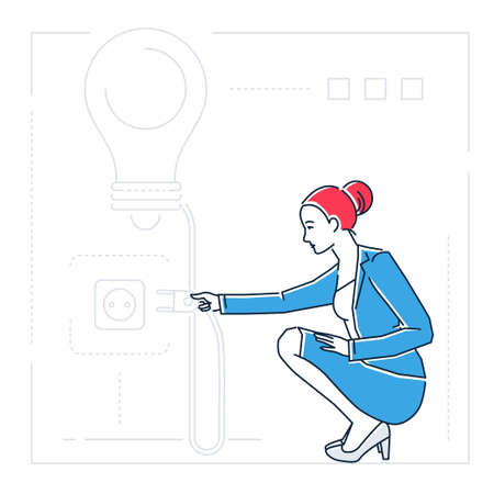 Businesswoman searching for ideas - line design style isolated illustration