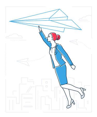 Businesswoman flying on a paper plane - line design style illustration Illustration